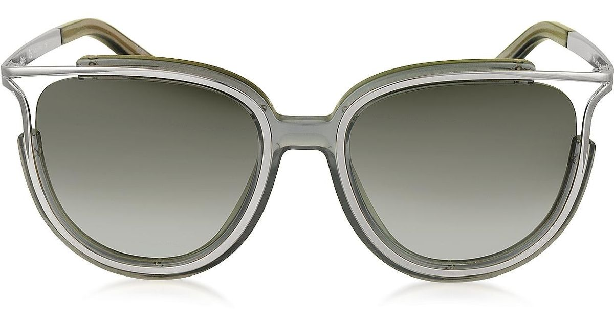 a63a49738db Lyst - Chloé Jayme Ce 688s 036 Gray Acetate And Silver Metal Square Women s  Sunglasses in Gray