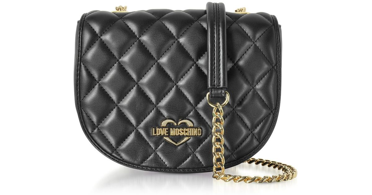 fc8f86f2d99 Love Moschino Black Superquilted Eco-leather Small Crossbody Bag in Black -  Lyst
