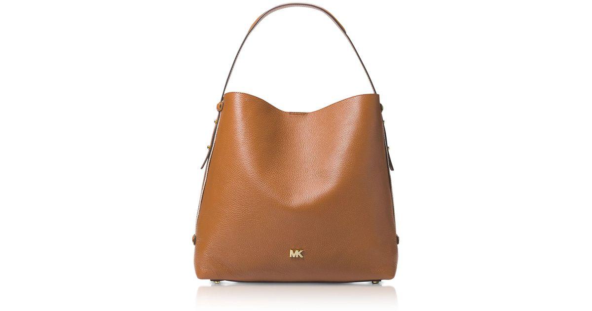 aeac34af8c Michael Kors Griffin Large Leather Shoulder Bag in Brown - Lyst