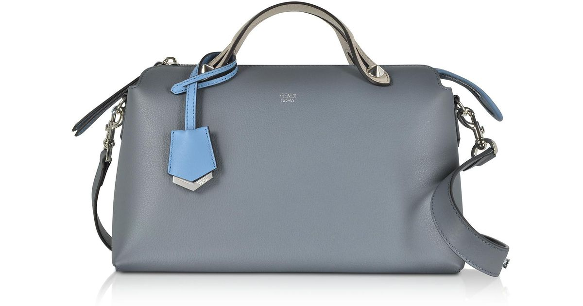 6702c38127a Fendi By The Way Regular Tempesta Blue Leather Small Satchel Bag in Blue -  Lyst