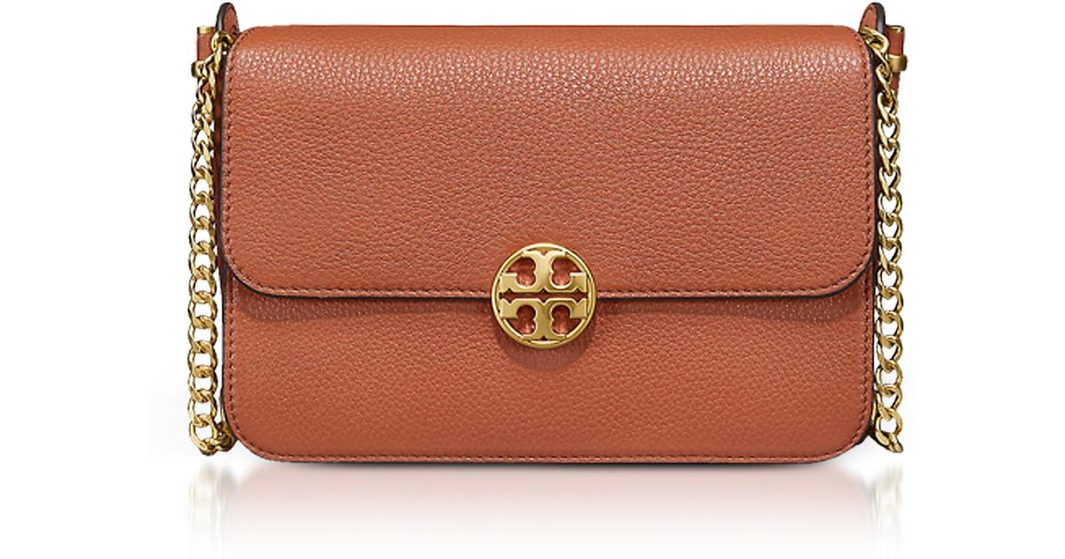 d0fb82225f32 Lyst - Tory Burch Pebble Leather Chelsea Crossbody Bag in Red