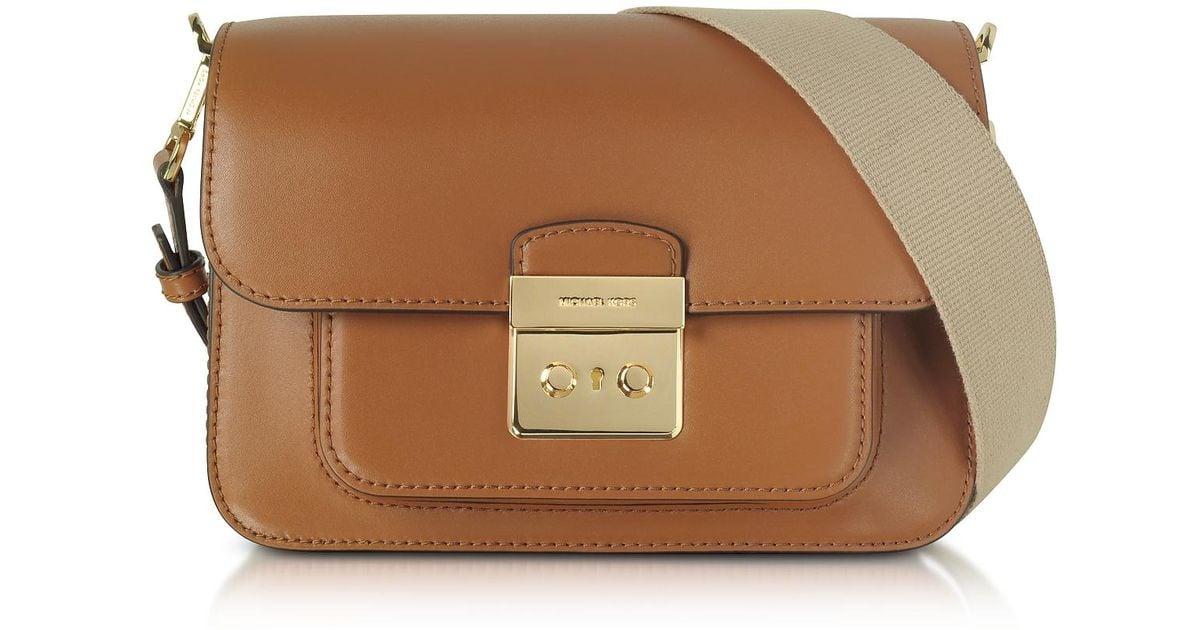 d9322b6cb195 Lyst - Michael Kors Sloan Editor Large Acorn Leather Shoulder Bag in Brown