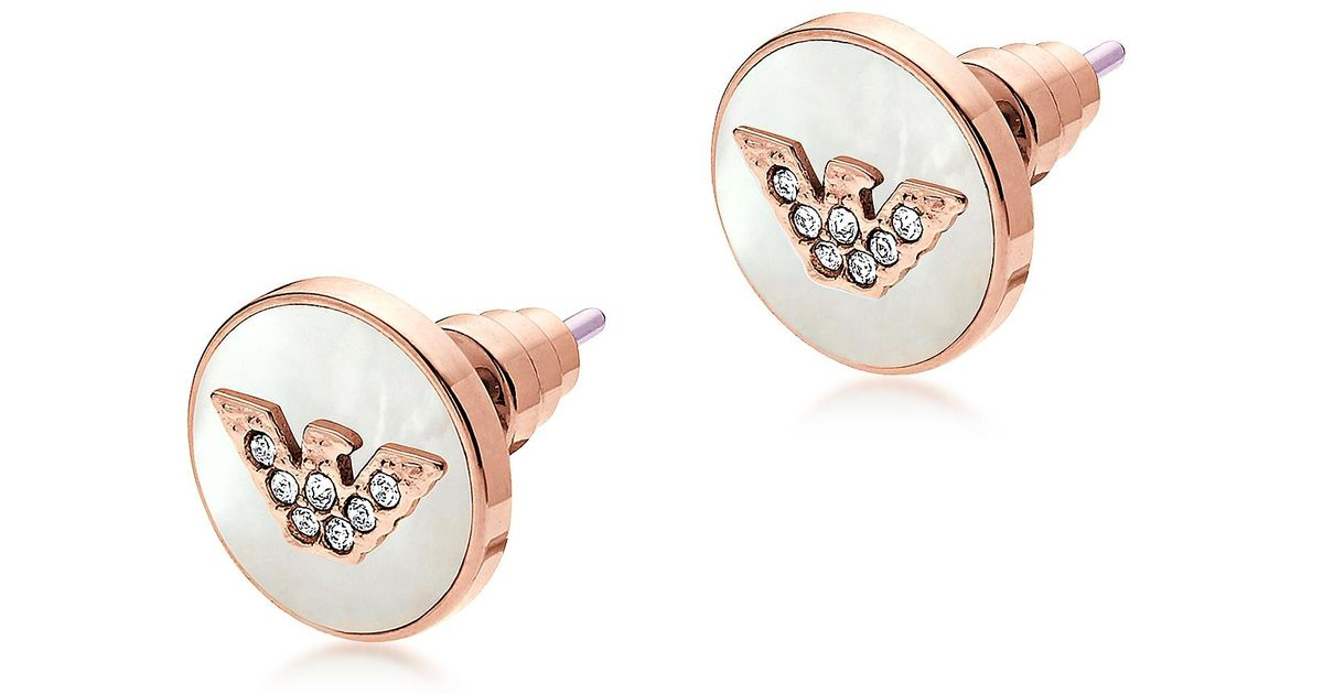 5cdd698d3 Emporio Armani Signature Rose Gold Pvd Stainless Steel Earrings in Pink -  Lyst