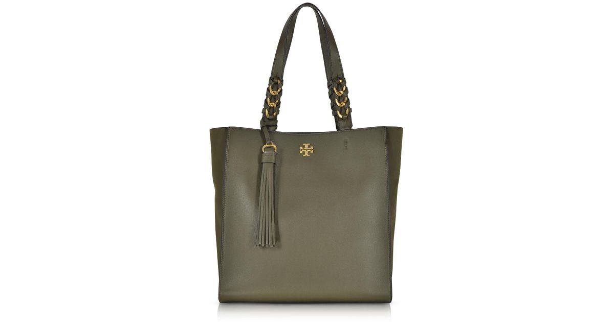 0cceb5e2895b Lyst - Tory Burch Brooke Leccio Leather Tote Bag W suede Trims in Green