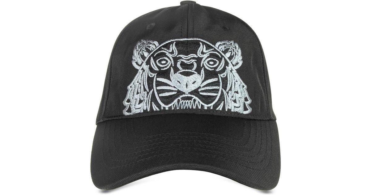4e406def0e8 Kenzo Black Canvas Tiger Baseball Cap in Black for Men - Lyst