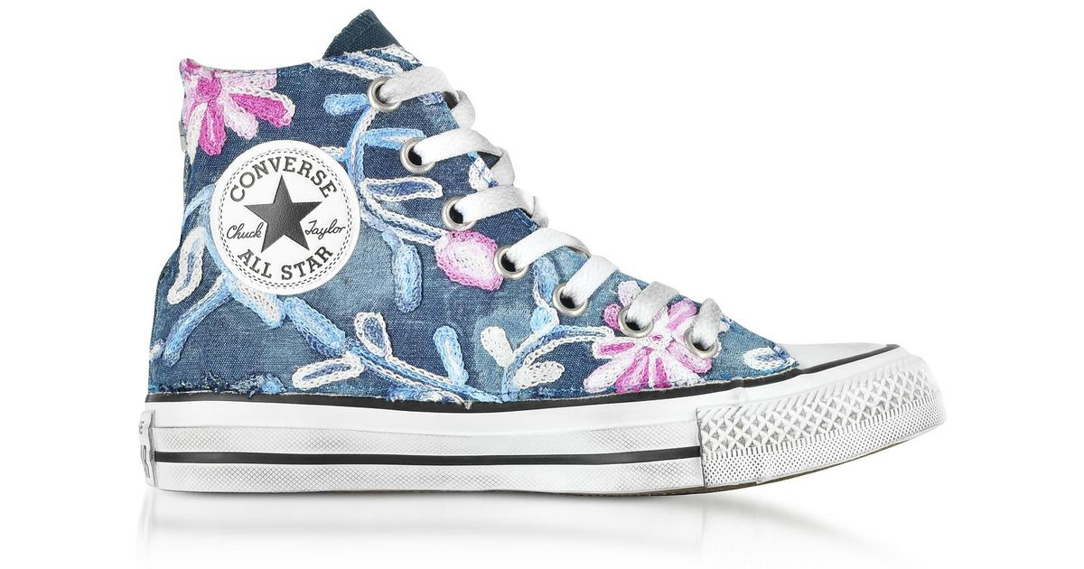 4cba637083b2 Lyst - Converse Chuck Taylor All Star High Vintage Denim Flowers Sneakers  in Blue
