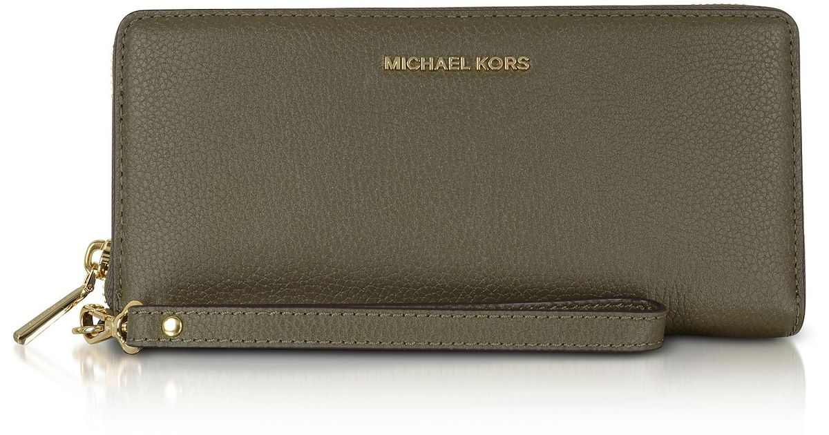 e689669574de6 Lyst - Michael Kors Mercer Large Olive Pebble Leather Continental Wallet in  Green