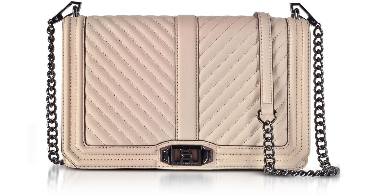 77c8be8285b1 Rebecca Minkoff Natural Nude Chevron Quilted Leather Slim Love Crossbody Bag