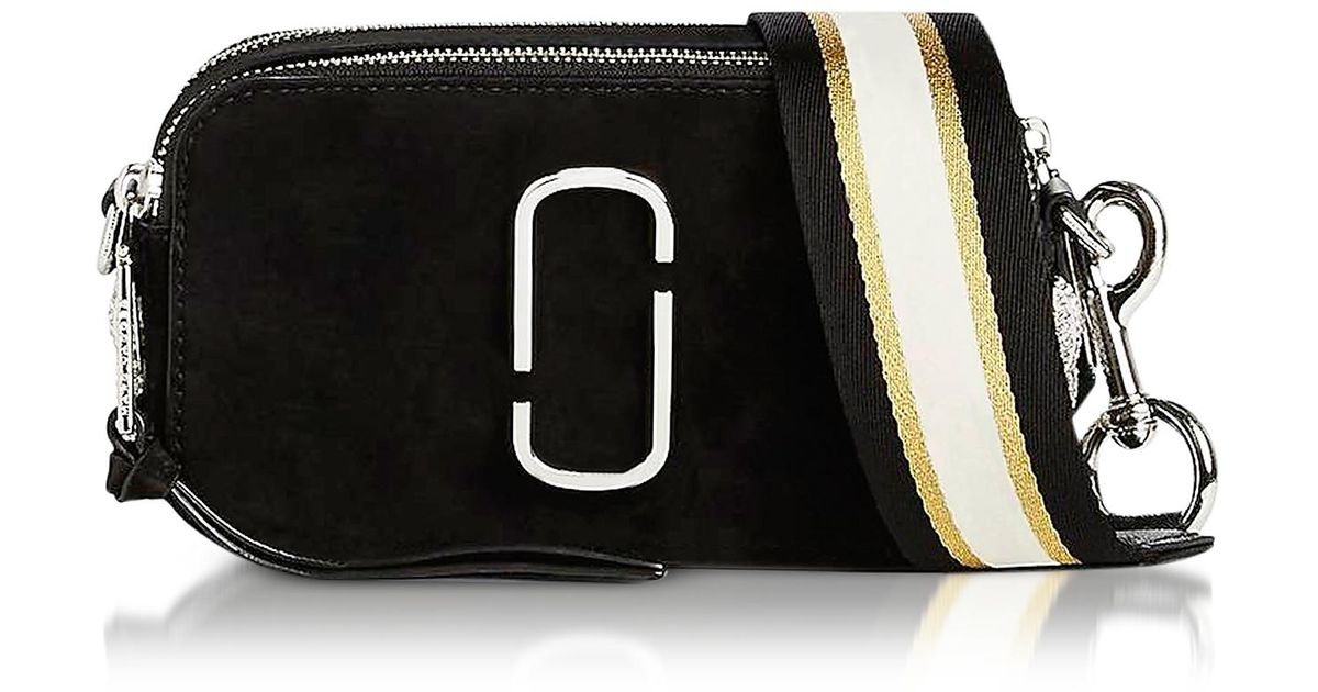 9be02946a6d3 Marc Jacobs Black Leather Pavè Chain Snapshot Small Camera Bag in Black -  Lyst