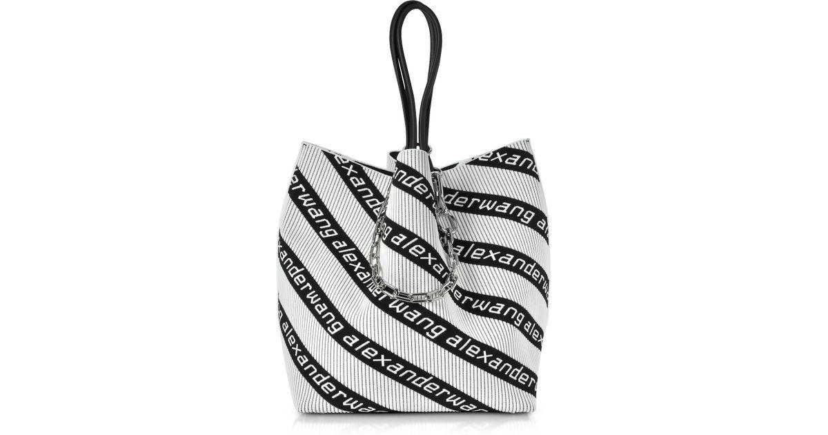 b39e74c810 Lyst - Alexander Wang Large Roxy Logo Knit Jacquard Tote in Black - Save 38%