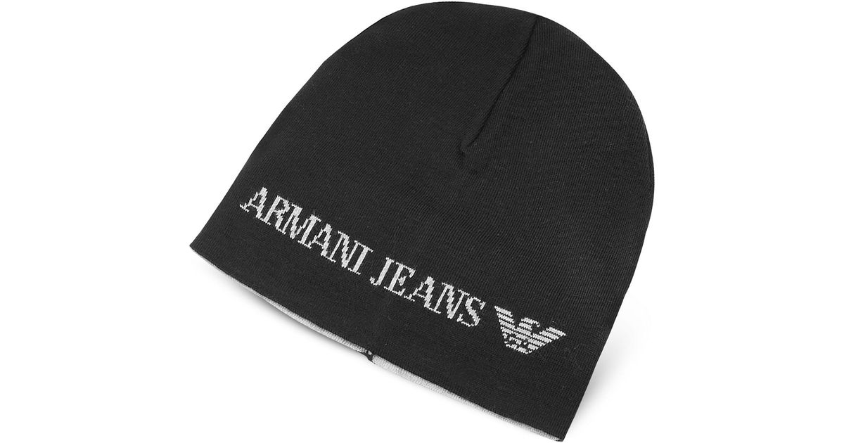 Lyst - Armani Jeans Solid Wool Blend Men s Beanie Hat in Black for Men 0de3d0302ff