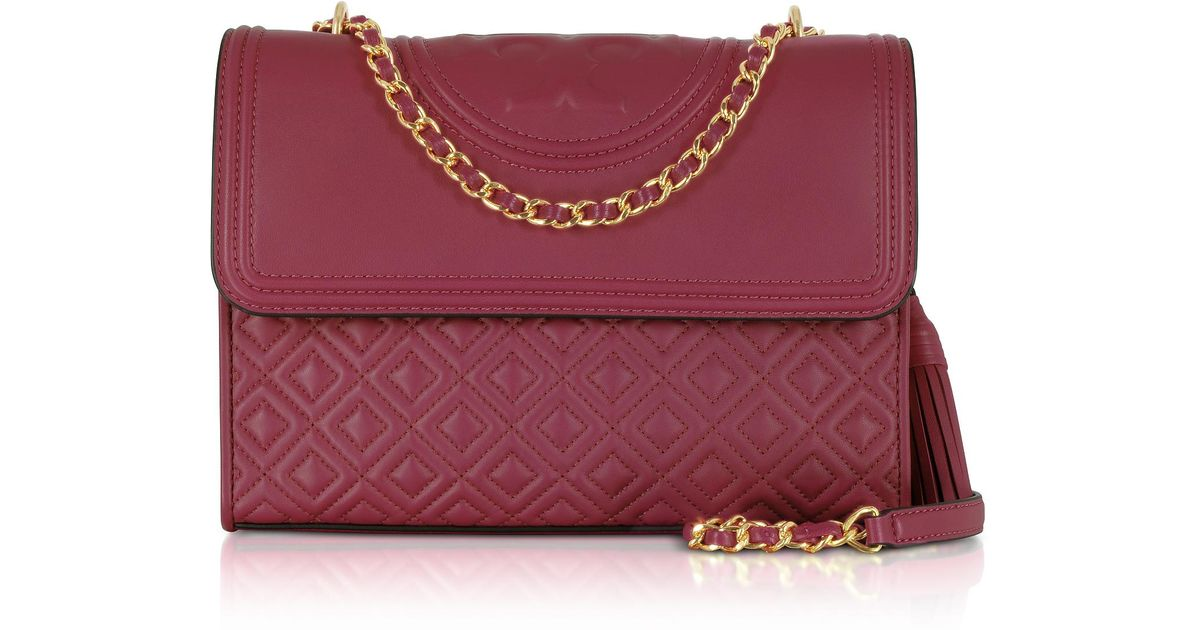 1aa8595e5336 Lyst - Tory Burch Fleming Imperial Garnet Leather Convertible Shoulder Bag