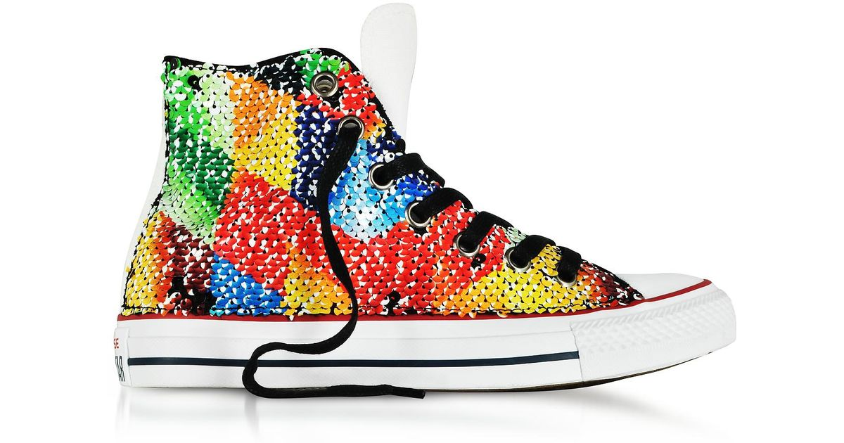 Lyst - Converse Chuck Taylor All Star High Reversible Sequins And Canvas  Women s Sneakers in Yellow 099ea1061