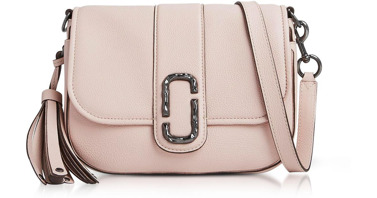 Lyst - Marc Jacobs Pale Pink Pebbled Leather Interlock Small Courier  Crossbody Bag in Pink b0e9e6d183055