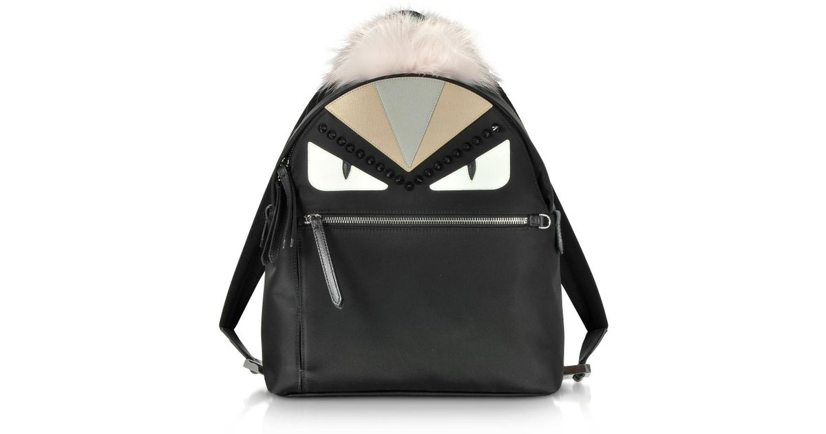 Lyst - Fendi Bag Bugs Backpack With Fur in Black 236990e248dc2