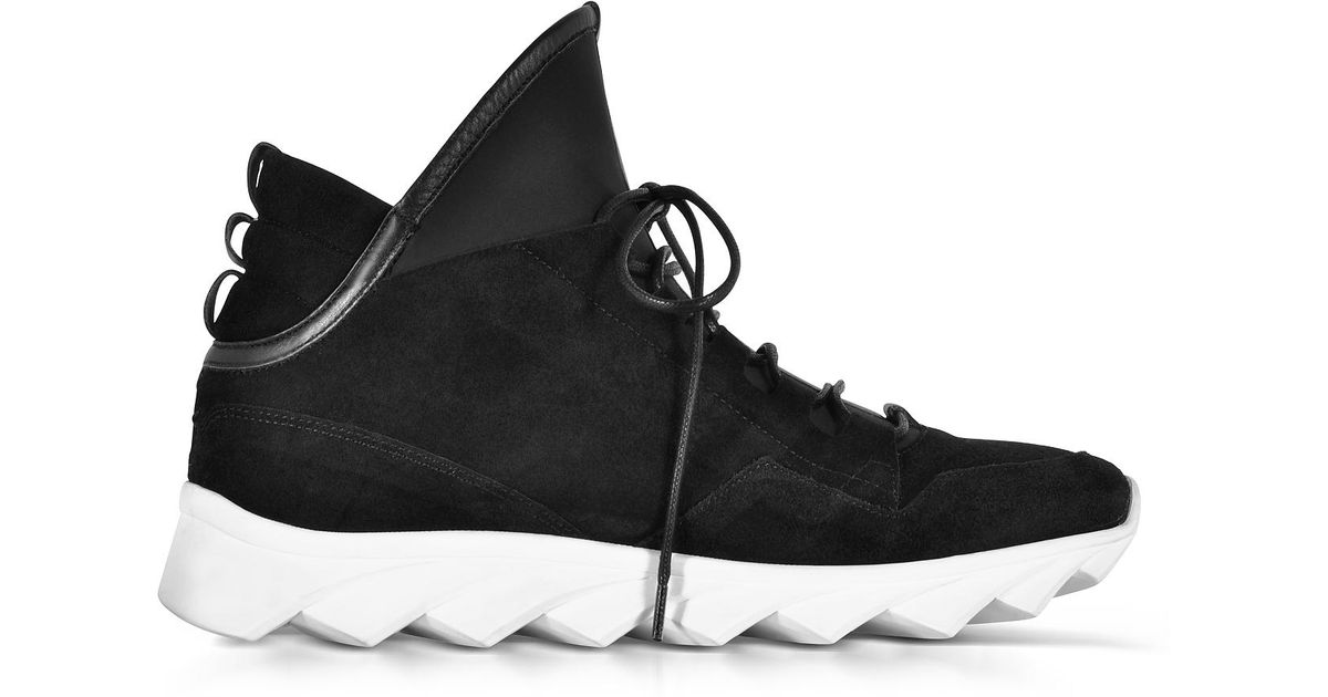 new product 677f8 60aa0 Ylati Dedalo Black Nubuck And Nappa Leather Men's Sneakers for men