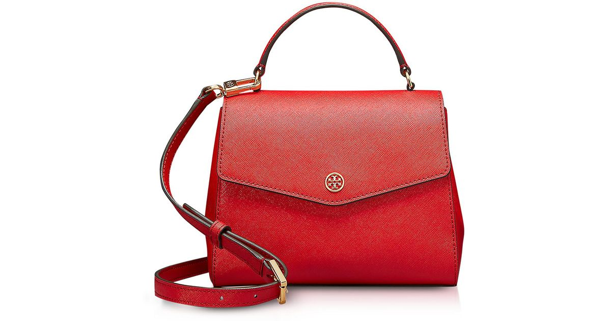 07ca5ec745cb Lyst - Tory Burch Robinson Small Top-handle Satchel in Red - Save 29%