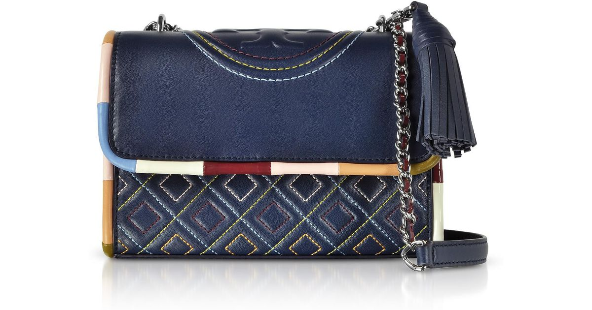 17ce239c27d Tory Burch Navy Blue W/multicolor Piping Fleming Small Shoulder Bag in Blue  - Lyst