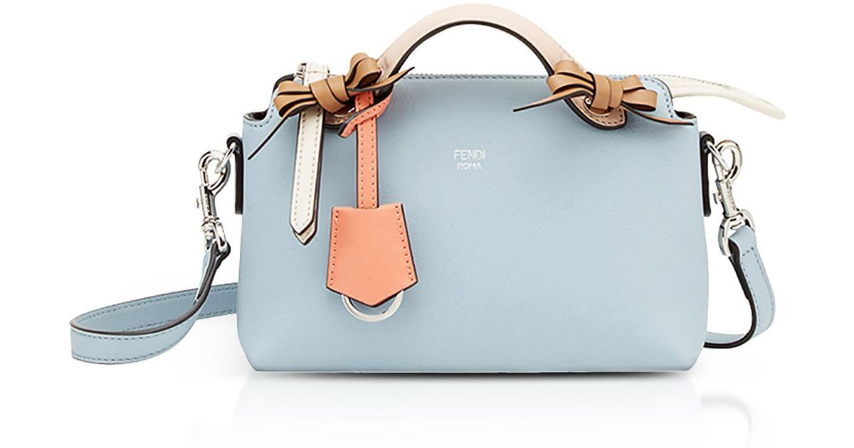 5a797256c1 Fendi By The Way Light Blue Leather Small Boston Bag