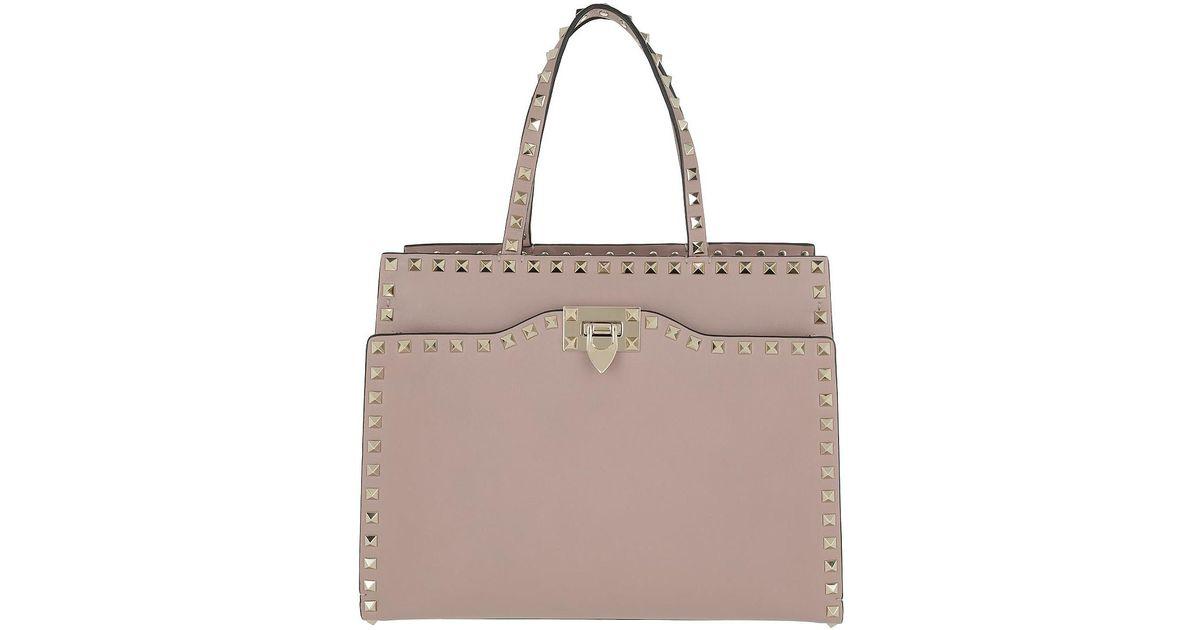 980b9526187d Lyst - Valentino Rockstud Handbag Medium Leather Poudre in Natural