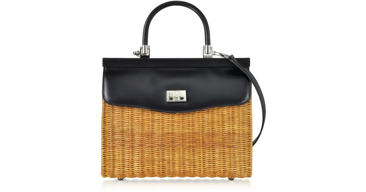1517d9935e891 Rodo Black Large Leather And Wicker Midollina Satchel Bag