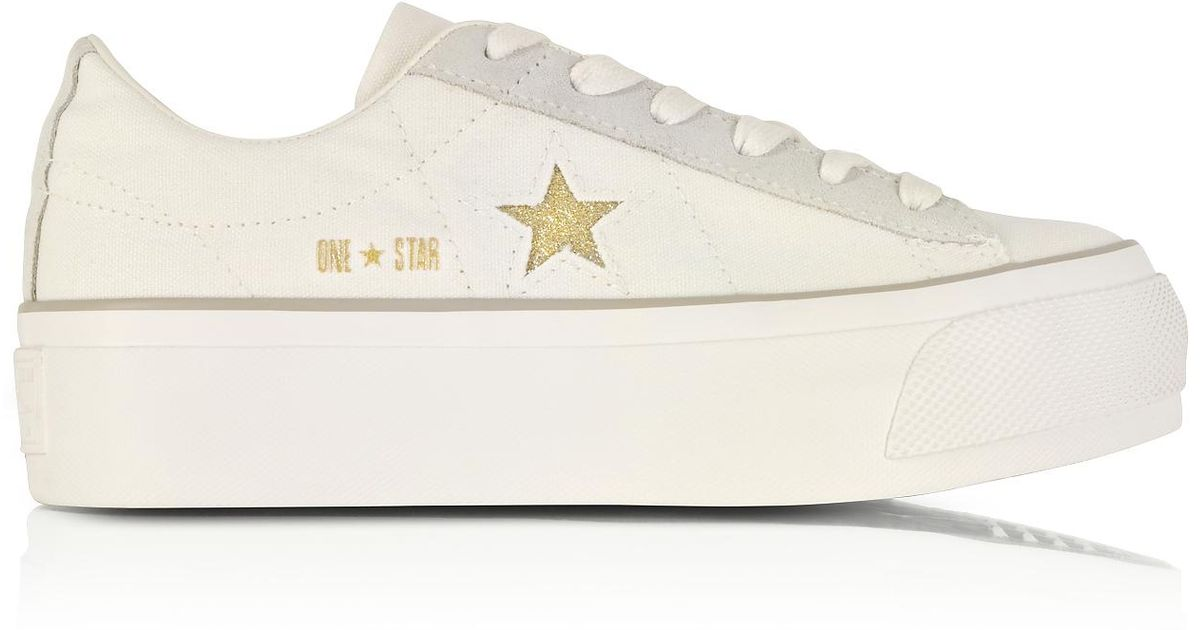 3c01130d4c02 Lyst - Converse One Star Ox Egret White Canvas Flatform Sneakers W gold  Glitter Star in White