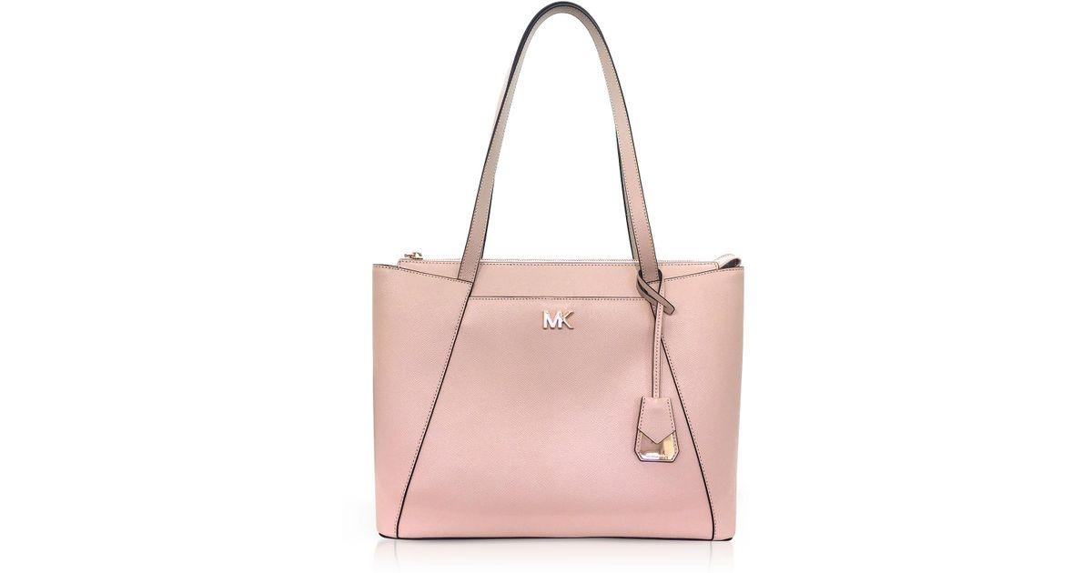 76b07cf9a4bd Lyst - Michael Kors Soft Pink Maddie Medium Crossgrain Leather Tote in Pink