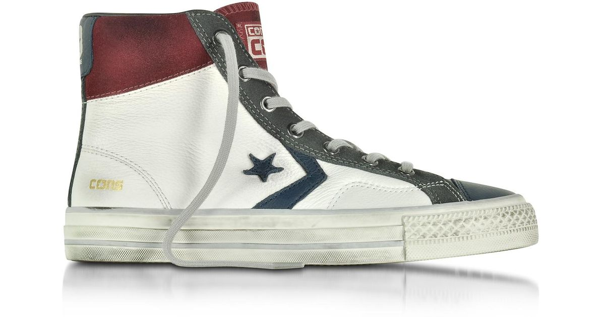 4e9ff4d0eb1 Lyst - Converse Star Player High White truffle Leather And Suede Men s  Sneaker in White for Men