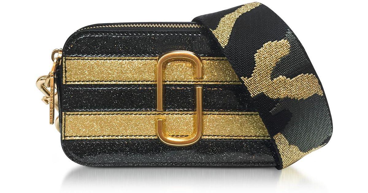 66137295b279 Lyst - Marc Jacobs Stripe Glitter Gold Multi Snapshot Camera Bag in Metallic