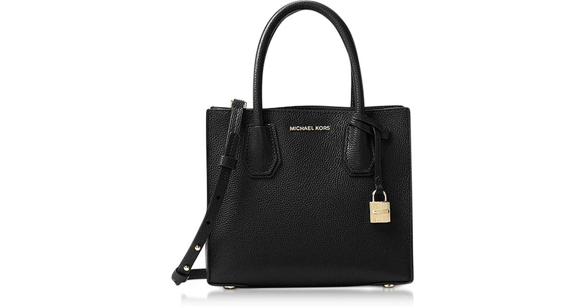 a56041013a Michael Kors Mercer Medium Black Pebble Leather Crossbody Bag in Black -  Lyst