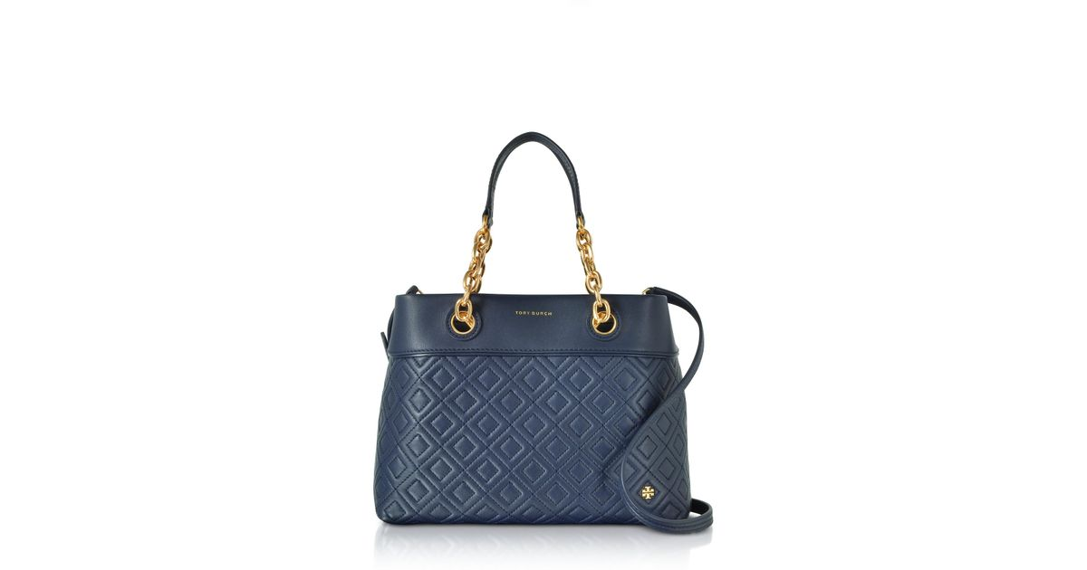 34dca59a2 Tory Burch Fleming Royal Navy Leather Small Tote Bag W/shoulder Strap in  Blue - Lyst