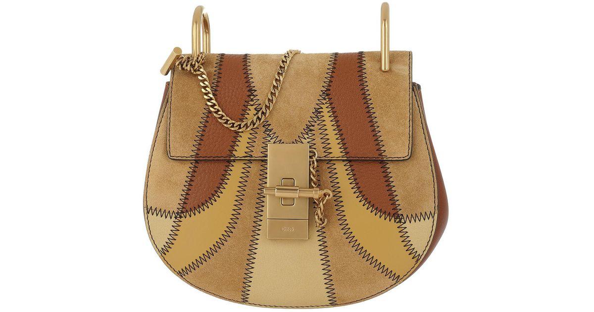 d6280f2b8d5 Lyst - Chloé Drew Patchwork Crossbody Bag Mini Caramel