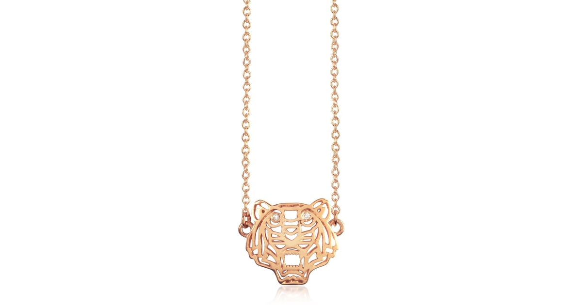 78908aeec Lyst - Kenzo Mini Tiger Necklace in Metallic