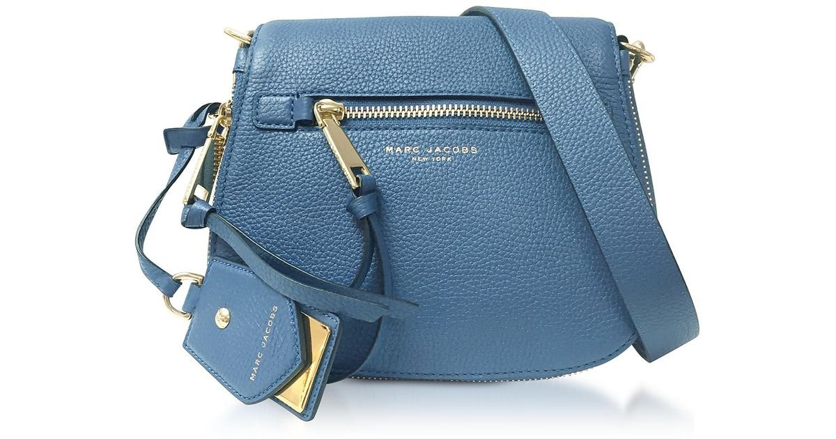 1acda7b7a0b4 Lyst - Marc Jacobs Recruit Vintage Blue Leather Small Saddle Bag in Blue