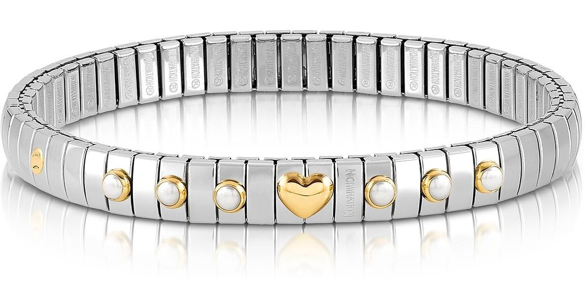 f0bc88ddd72e4 Nomination Metallic Stainless Steel Women's Bracelet W/white Pearls And  Golden Beads