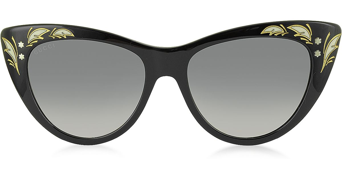ac8df7be50f Lyst - Gucci Gg 3806 s 807dx Black Acetate Oversized Cat Eye Women s  Sunglasses in Black