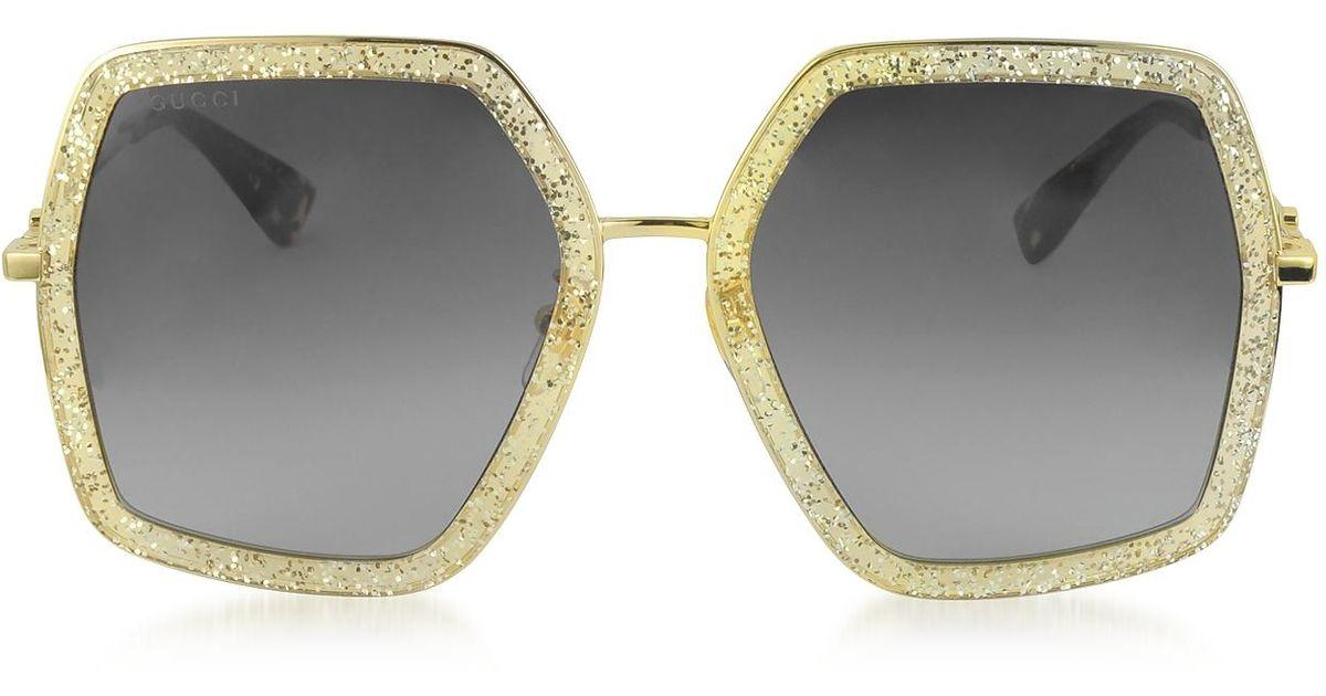 431f9c04d37cc Gucci Gg0106s 005 Gold Glitter Acetate And Metal Square Oversized Women s  Sunglasses in Metallic - Lyst