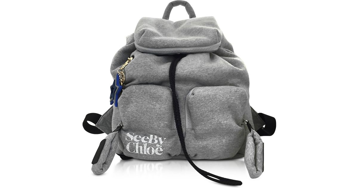Lyst - See By Chloé Joy Rider Gray Viscose Backpack in Gray a5fac42bcbed2