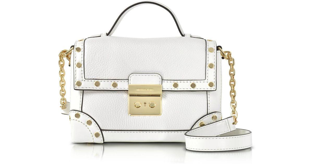 d3d7c153b882b4 Michael Kors Cori Optic White Pebble Leather Small Trunk Bag W/studs in  White - Lyst