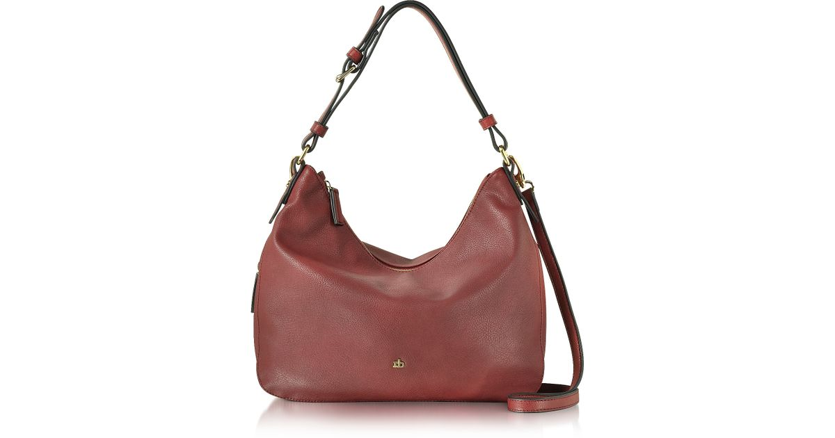 ... White i  online store 8f6aa b43ee Lyst - Roccobarocco Large Burgundy  Eco Leather Zip Hobo Bag ... e2588fe483