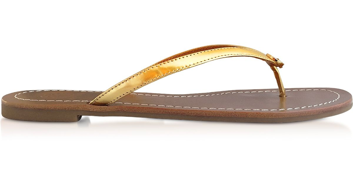 62552180097c Lyst - Tory Burch Terra Gold Dress Mirror Metallic Leather Thong Sandal in  Metallic