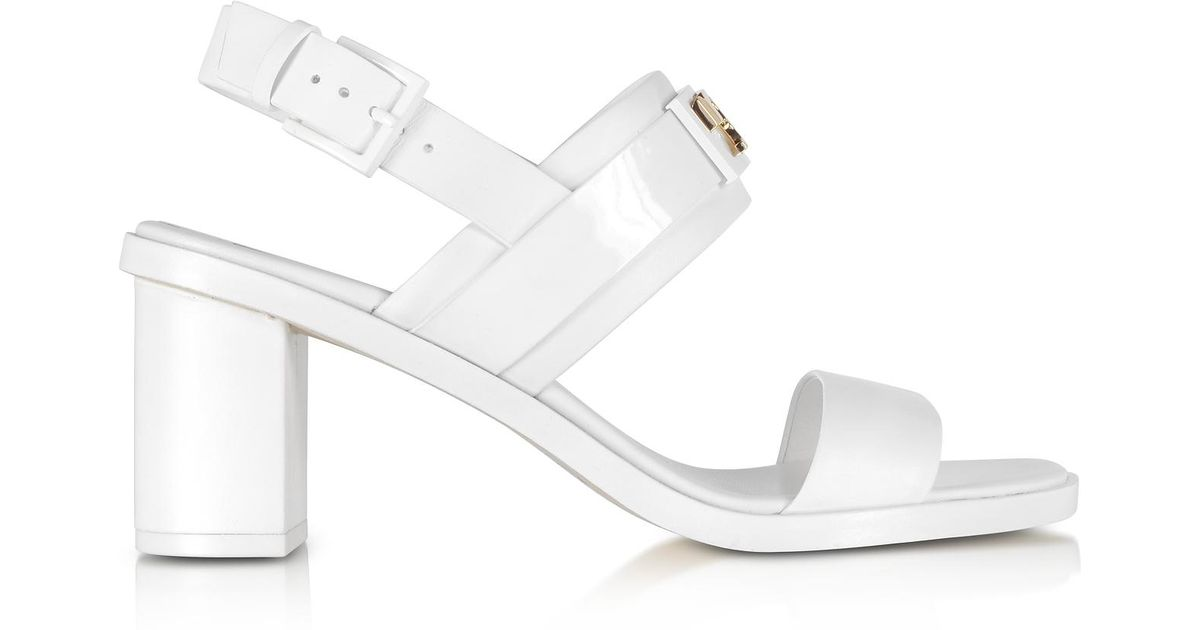 ec8cb77c712 Lyst - Tory Burch Gigi Leather Mid-heel Sandals in White