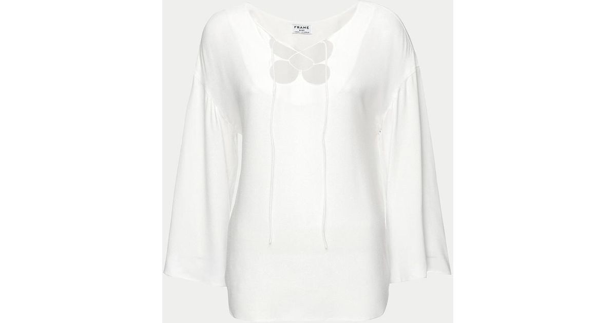 0af1760c99 Lyst - Frame Mirrored Lace Up Blouse in White