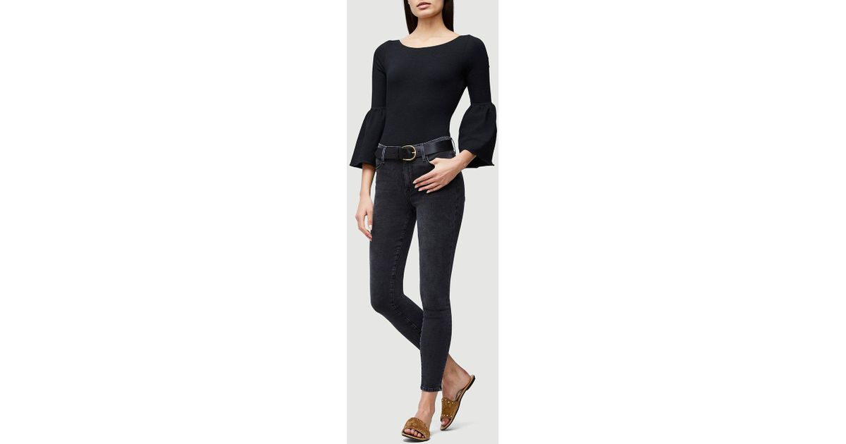 f583f7bea4a96 Lyst - FRAME Woman Fluted Stretch-cotton Jersey Bodysuit Black in Black -  Save 57%