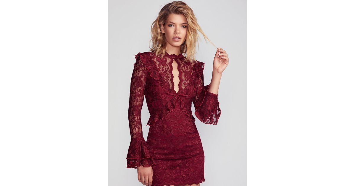 Free People Red Devin Lace Bodycon Dress