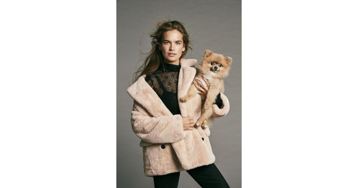 0b06305e1197 Lyst - Free People Solid Kate Faux Fur Coat in Pink