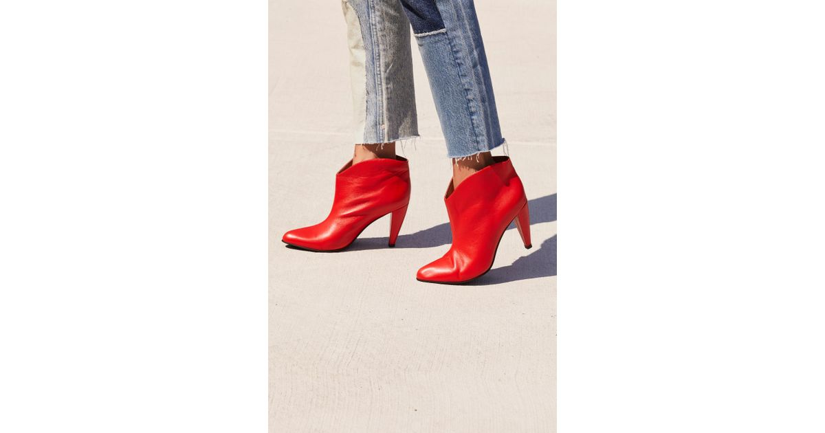 9e37d2055c91 Free People Hazel Heeled Boot By Jeffrey Campbell in Red - Lyst