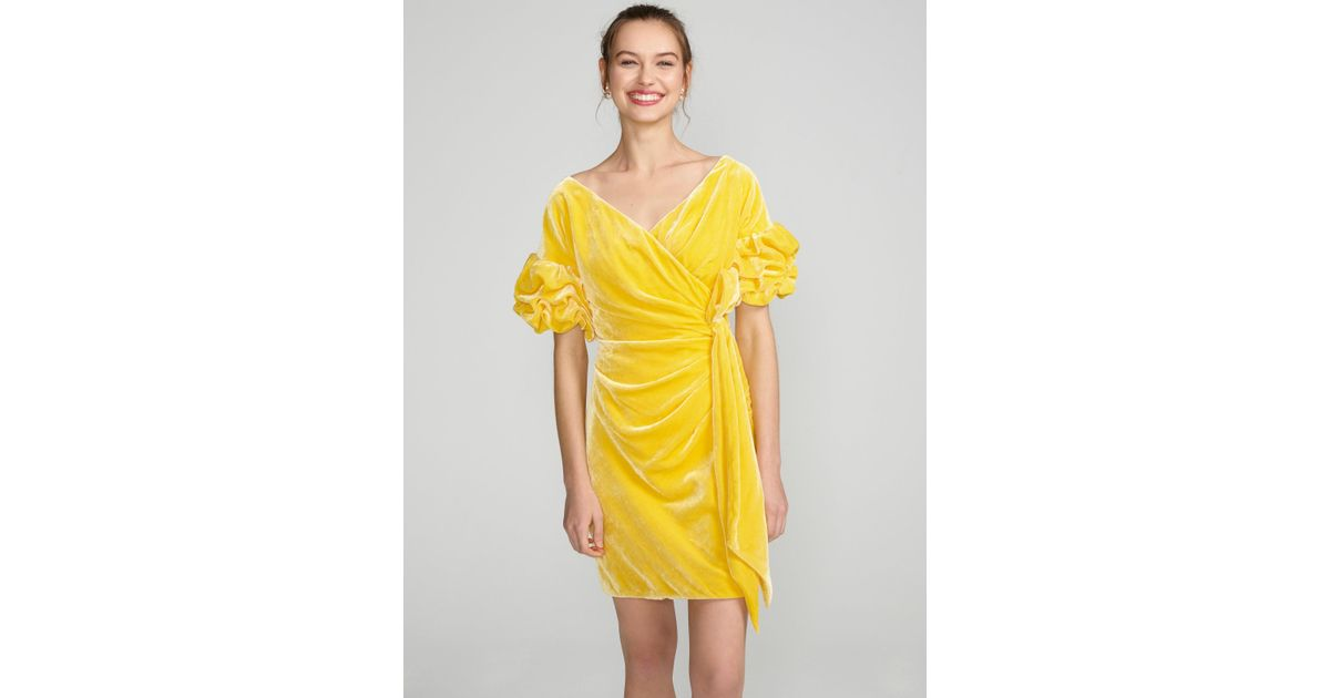 7c044f683e564 Free People Caroline Velvet Wrap Dress in Yellow - Lyst