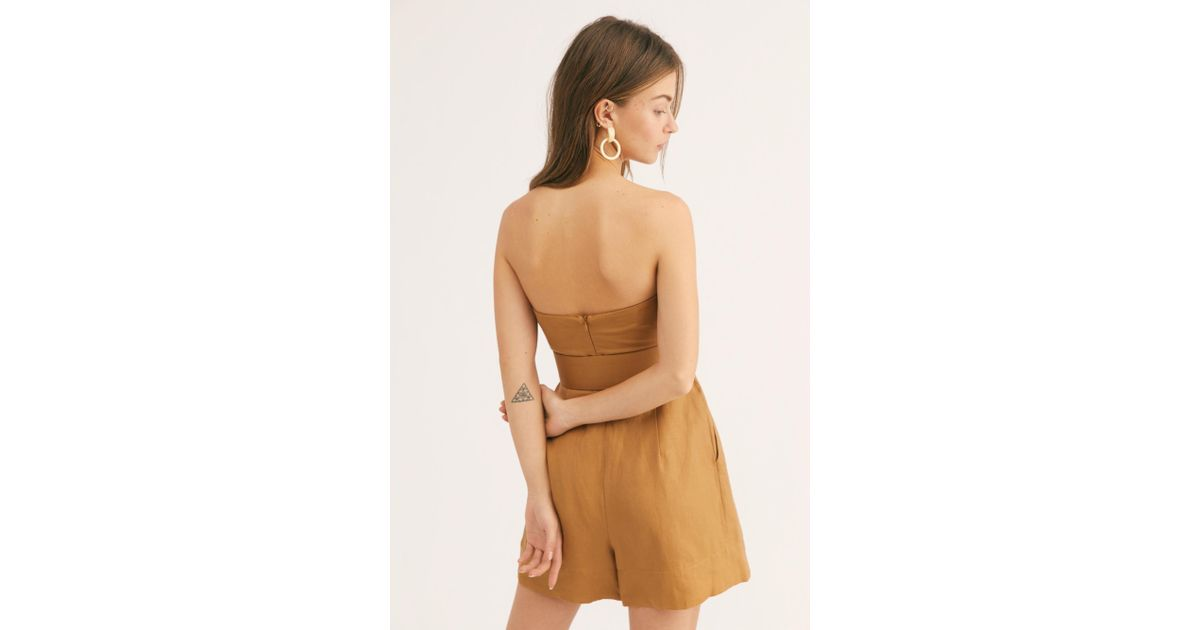69eb47f6e8ce Lyst - Free People Gaia Bustier Playsuit By Shona Joy in Brown