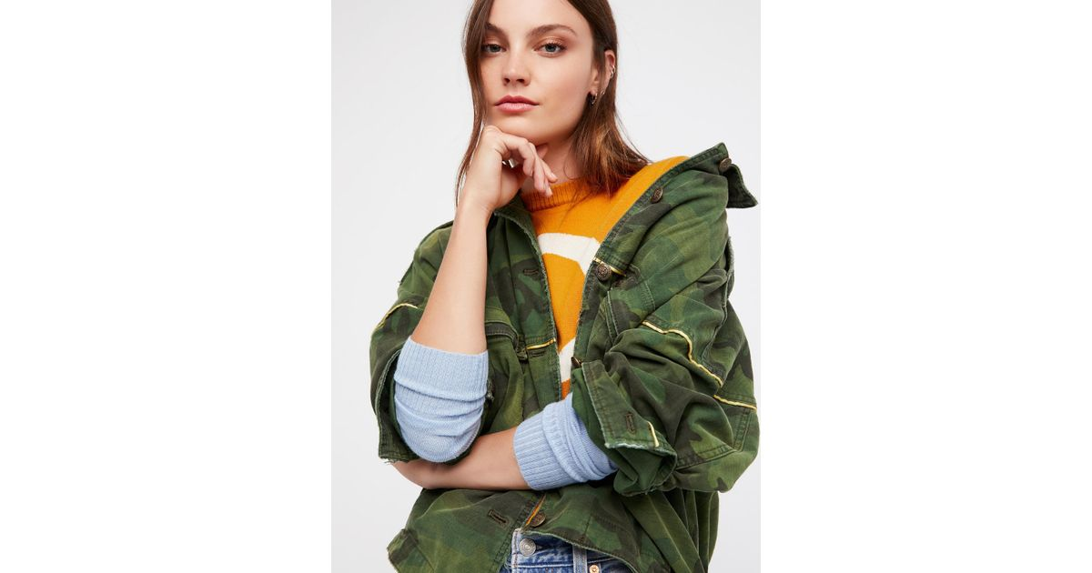 c05a605e51207 Free People Slouchy Military Jacket in Green - Lyst